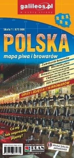 POLSKA mapa piwa i browarów 1:875 000 PLAN 2015
