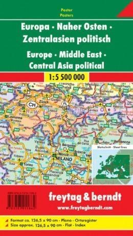 EUROPA BLISKI WSCHÓD mapa ścienna polityczna 1:5 500 000 FREYTAG&BERNDT