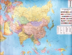 XXL !!AZJA mapa ścienna tablica w metalowej ramie 1:9 000 000 FREYTAG & BERNDT