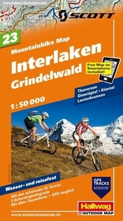 INTERLAKEN - GRINDELWALD wodoodporna mapa rowerowa 1:50 000 Hallwag