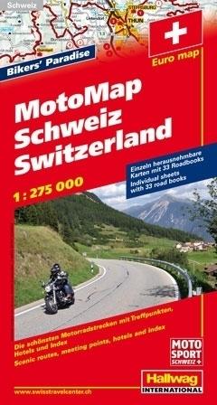 SZWAJCARIA mapa dla motocyklistów 1:275 000 HALLWAG