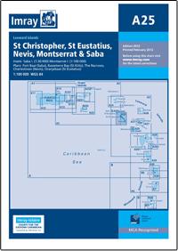 A25 St Eustatius - St Christopher - Nevis - Monserrat - Saba wybrzeże mapa morska 1:100 000 IMRAY