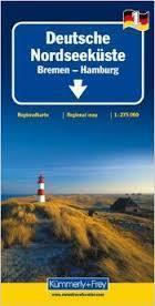 NIEMCY WYBRZEŻE BAŁTYKU BREMEN HAMBURG mapa laminowana 1:275 000 KUMMERLY + FREY