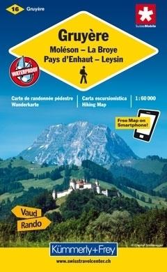 GRUYERE - MOLESON - LA BROYE - PAYS D'ENHAUT - LEYSIN wodoodporna mapa samochodowa 1:60 000 Kummerly + Frey