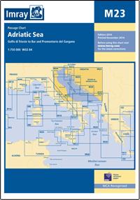 M23 MORZE ADRIATYCKIE M23 Adriatic Sea mapa morska 1:750 000 IMRAY