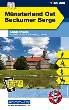 MUNSTERLAND OST BECKUMER BERGE wodoodporna mapa turystyczna 1:50 000 KUMMERLY FREY