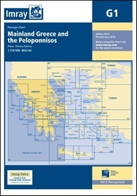 G1 KONTYNENTALNA GRECJA PELOPONEZ Mainland Greece and the Peloponnisos mapa morska 1:729 000 IMRAY