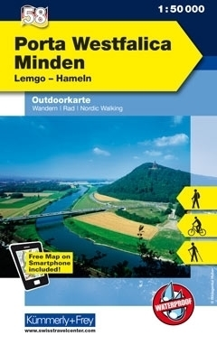 PORTA WESTFALICA MINDEN LEMGO HAMELN wodoodporna mapa turystyczna 1:50 000 KUMMERLY FREY