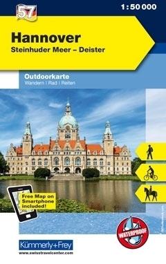 HANNOVER STEINHUDER MEER-DEISTER wodoodporna mapa turystyczna 1:50 000 KUMMERLY FREY
