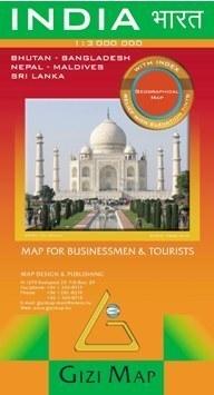 INDIE mapa geograficzna 1:3 000 000 GIZIMAP (India Geografical)