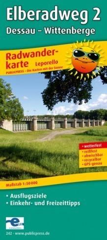 NIEMCY- ELBERADWEG 2 - DESSAU - WITTENBERGE mapa rowerowa laminowana PUBLICPRESS