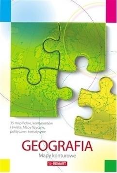 GEOGRAFIA mapy konturowe, świat, kontynenty DEMART 2018/2019