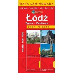 ŁÓDŹ  plan miasta laminowany 1:24 500 DAUNPOL