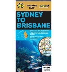 244 SYDNEY TO BRISBANE Australia mapa turystyczna UBD