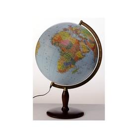 Globus 42 cm polityczno-fizyczny podświetlany drewniana stopka GŁOWALA 8412