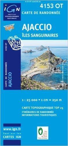 4153 OT AJACCIO SANGUINAIRES mapa turystyczna 1:25 000 IGN