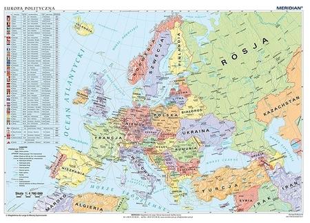 Europa Mapa Scienna Polityczna Fizyczna 1 4 700 000 Meridian