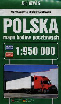 Polska mapa Kodów Pocztowych 1:950 000 PWN