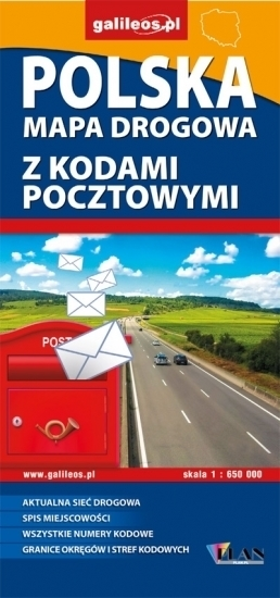 Polska 1:650 000  - mapa drogowa z kodami pocztowymi PLAN 2016
