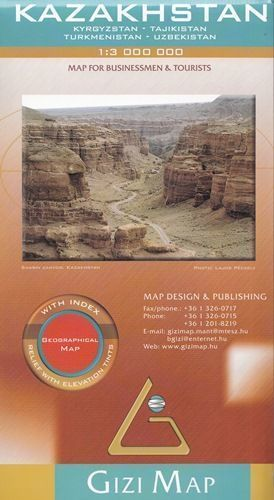 KAZACHSTAN mapa geograficzna 1:3 000 000 GIZIMAP 2020