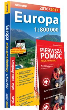 EUROPA ATLAS SAMOCHODOWY + PIERWSZA POMOC 1:800 000 2016/2017 EXPRESSMAP EXPRESSMAP