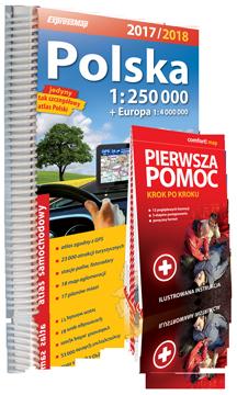 POLSKA ATLAS SAMOCHODOWY 1:250 000 + PIERWSZA POMOC + EUROPA 2017/2018 EXPRESSMAP
