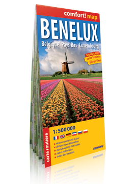 BENELUX Belgia Holandia Luksemburg laminowana mapa samochodowa 1:500 000 wersja francuska  EXPRESSMAP