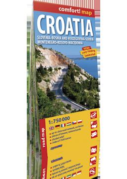 Chorwacja Słowenia, Bośnia laminowana mapa samochodowa WERSJA ANGIELSKA 1:750 000 EXPRESSMAP