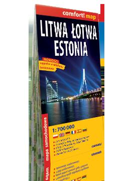 LITWA ŁOTWA ESTONIA laminowana mapa samochodowa 1:700 000 EXPRESSMAP