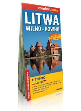 Litwa, Wilno, Kowno laminowana mapa samochodowa; plany miast 1:700 000 EXPRESSMAP