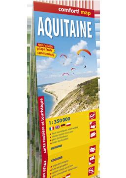 AKWITANIA (Aquitaine) laminowana mapa samochodowo-turystyczna 1:350 000 wersja francuska  EXPRESSMAP