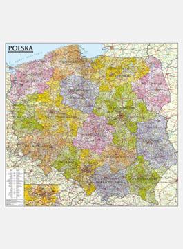 Polska Mapa administracyjno-samochodowa mapa ścienna 1:570 000 oprawiona w listwy EXPRESSMAP