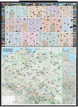 Polska atrakcje turystyczne laminowana mapa ścienna oprawiona w listwy EXPRESSMAP