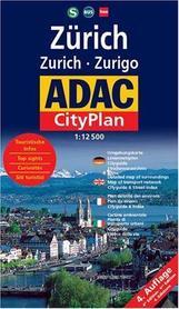ZURYCH ZURICH Plan miasta 1:12 500 ADAC