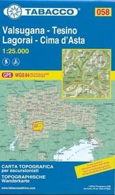 058 VALSUGANA - TESINO mapa turystyczna 1:25 000 TABACCO