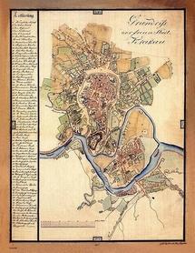 KRAKÓW MAPA z 1817 ROKU AUSTERIA