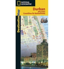 DURBAN, laminowana mapa NATIONAL GEOGRAPHIC, 2003