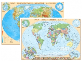 ŚWIAT mapa dwustronna polityczna/fizyczna 1:35 000 000 EKOGRAF