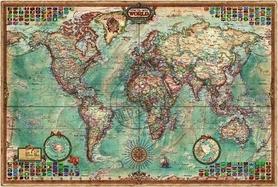Mapa ścienna Świata, ozdobna flagi RAYCO