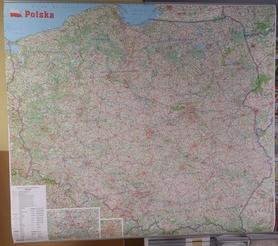 POLSKA mapa ścienna 1:650 000  Z LISTWĄ GAUSS 2016