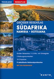 AFRYKA POŁUDNIOWA NAMIBIA BOTSWANA atlas samochodowy 1:1 500 000 KUNTH 2016/2017