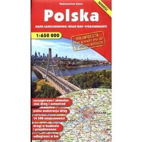 POLSKA mapa samochodowa 1:650 000 GAUSS 2016 !!