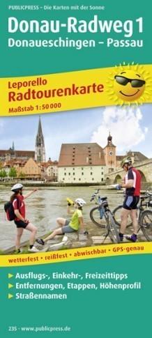 DUNAJ 1 - DONAUESCHINGEN - PASSAU laminowana mapa rowerowa PUBLICPRESS 2015