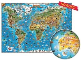 Świat. Mapa dla dzieci oprawiona w listwy, gotowa do zawieszenia EXPRESSMAP 2016 !!