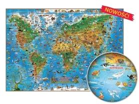 Zwierzęta świata. Mapa dla dzieci oprawiona w listwy, gotowa do zawieszenia EXPRESSMAP 2016 !