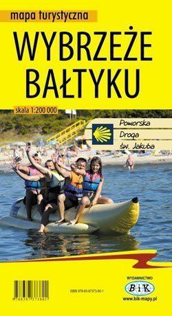 Wybrzeże Bałtyku - mapa turystyczna - foliowana BIK 2016 !