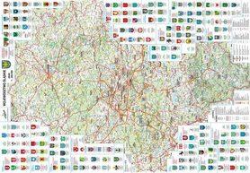WOJEWÓDZTWO ŚLĄSKIE mapa ścienna administrcyjno-turystyczna (listwy metalowe) BIK