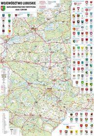 WOJEWÓDZTWO LUBUSKIE mapa ścienna administrcyjno-turystyczna (listwy metalowe) BIK