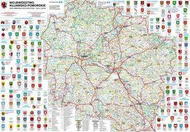 WOJEWÓDZTWO KUJAWSKO-POMORSKIE mapa ścienna  (listwy metalowe) BIK