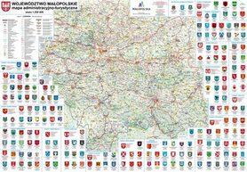 WOJEWÓDZTWO MAŁOPOLSKIE mapa ścienna  (listwy metalowe) BIK 2015 !!